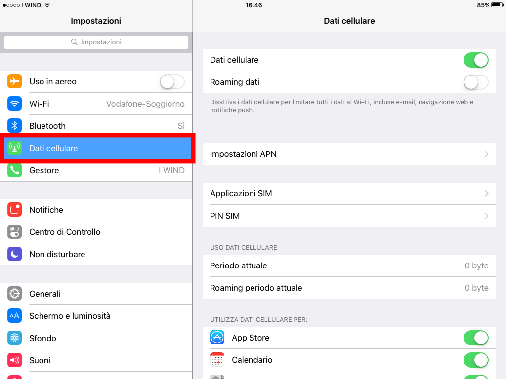 2 - Dati cellulare - configurare APN internet 3 iPad