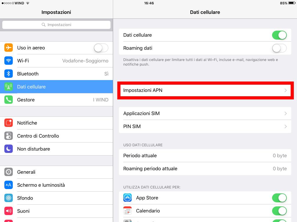 3 - Impostazioni configurare internet 3 su ipad