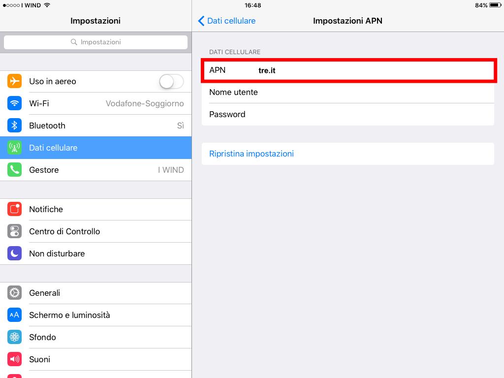 4 - APN tre H3G iPad iOS9