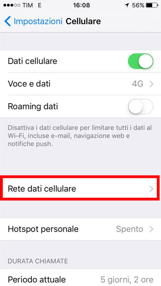 3- Impostazioni - Cellulare