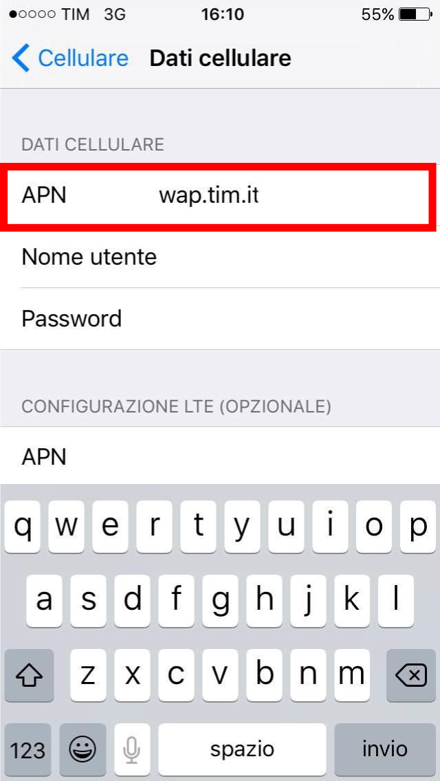 4 - configurazione internet tim iphone