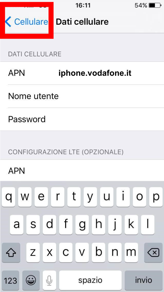 5 - salva - APN configurazione internet vodafone iphone