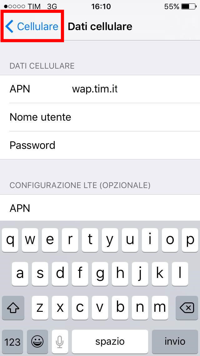 5 - configurazione internet tim iphone