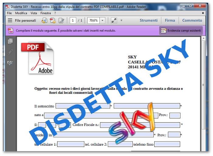 modulo disdetta sky pdf da
