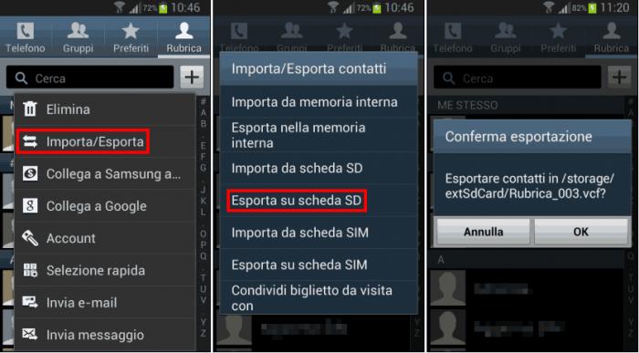 Come salvare rubrica e contatti su Android